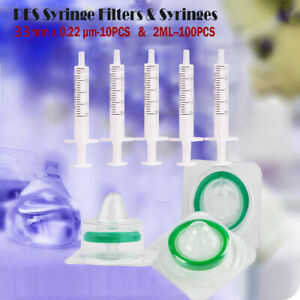 100pcs 2ml Syringes 10pcs Syringe Filters pes 0 22 m Sterilized 25mm disposable
