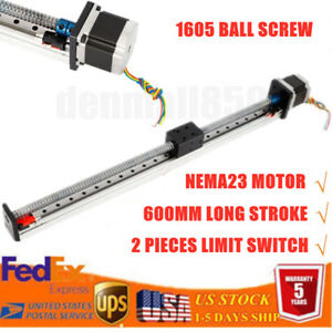 Cnc 600mm Long Linear Actuator Slide Stroke Stage Nema23 Motor Ball Screw 1605