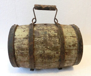 Antique Wooden Barrel Cask Keg Flask Canteen 4 Iron Band Stand Old Yellow Paint