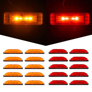 20 amber red 4led 4 Side Marker Light Clearance Light For Truck Rv Boat 12v Dc