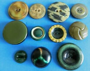 Lot Celluloid Green Shades Deco Style Buttons Wafer Tight Tops Antique Vtg