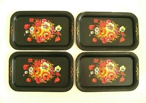 4 Vintage Metal Toleware Trays Luncheon Serving 8 X 14 Floral Cottage