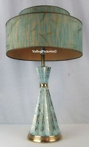 Vintage Mid Century Mod Atomic Hour Glass Blue Gold Table Lamp 2 Tier Shade