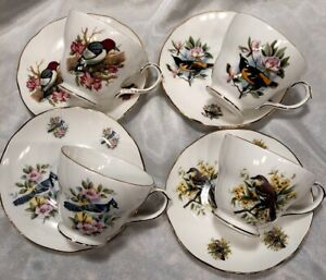 Vintage Duchess Tea Cup Birds Bluejay Woodpecker Wren Robin England Set Of 4