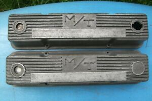 Vintage Mickey Thompson M T Aluminum Valve Covers Sbc Chevy 1959 86 Mt