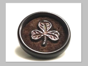 Antique Vegetable Ivory Vi Button With Velvet Metal 3 Material Clover