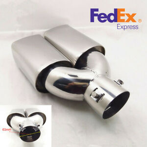 63mm 2 5 Inlet Stainless Steel Car Rear Tail Dual Exhaust Muffler Tip Pipe us