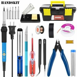 Repair Tool Electric Soldering Iron Kit Five Pieces Tips Stand Portable Welding