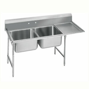 78 Two 2 Compartment Sink 24 X 24 Bowl Right Drainboard In Stock