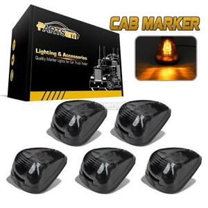 5x Smoke 264143bk Roof Clearance Cab Marker W build in Amber Led Lights For Ford