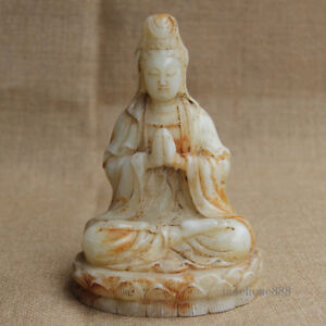 6 Chinese Old White Jade Hand Carved Sitting Pray Lotus Guanyin Statue