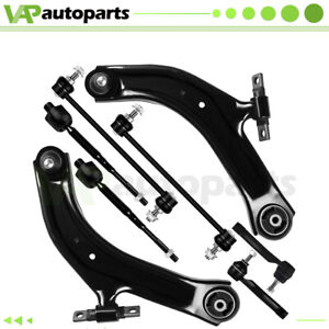 For Nissan Sentra 8pc Front Lower Control Arms Tie Rods Suspension Kit 2007 2012