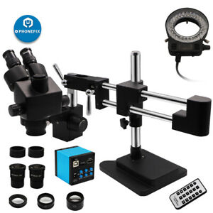 Double Arm Boom Stand 7 45x Trinocular Stereo Zoom Microscope Phone Soldering