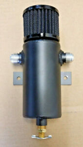 Baffled Aluminum Breather Tank Oil Catch Can Tube With 12an Ports Black