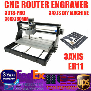 Mini Diy 3 Axis Cnc Router Kit 3018 Laser Engraver Carver Machine Usb Grbl 2in1