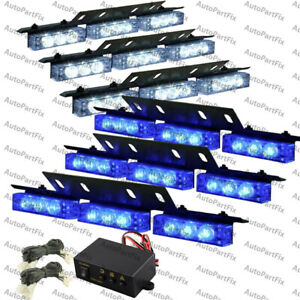 54 Led White Blue Emergency Warn Strobe Hazard Light Bar Deck Dash Grill Advisor