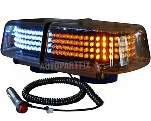 240 Led Magnetic White Amber Emergency Truck Strobe Flash Light Warning Roof