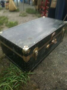 Antique Travel Trunk Probably Used By Vaudeville Or Other Entertainers