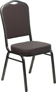 Banquet Chair Gray Fabric Restaurant Chair Crown Back Stacking Chair