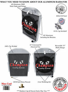 3 Row Bc Champion Radiator W 16 Fan For 1939 Chevrolet Ja Master Deluxe L6 Eng