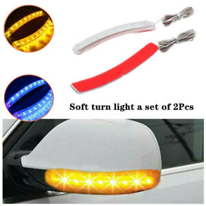 2pcs Car Side Mirror Led Amber Indicator Lamps Soft Turn Signal Light Strips