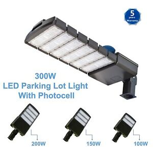 Led Parking Lot Light 100 150 200 300watt Dusk To Dawn Shoebox Photocell Sensor