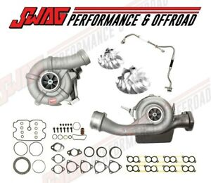 08 10 Ford 6 4 6 4l Powerstroke Diesel Twin Turbo Kit Billet Compressor Wheels
