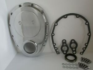 Small Block Chevy Polished Aluminum Timing Chain Cover Kit 283 327 350 6040kit
