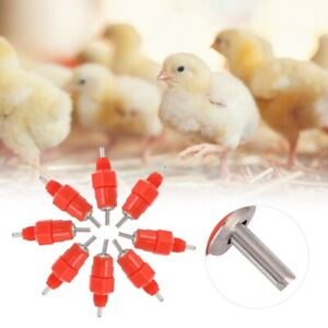 100 Pack Water Nipple Drinker Chicken Feeder Poultry Duck Hen Screw In Style