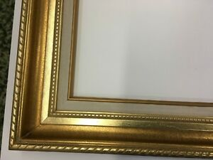 Ornate Wide Antique Gold Picture Mirror Frame 12 X 16 Or 14 X 18