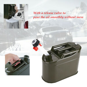 1set Green 5l Car Petrol Oil Container Can Motorcycle Portable Metal Fuel Tank