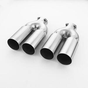 Pair Bolt on 2 3 4 Straight Cut Exhaust Tip Twin Round 10 Long Tail Pipe