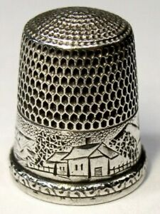 Antique Simons Bros Sterling Silver Thimble Landscape Country Scene C1880s