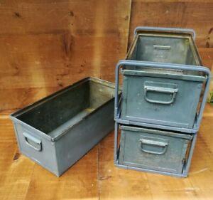 3 Vintage Industrial Steel Stacking Parts Bins 20 Long Lyon Tool With 2 Racks