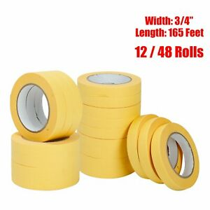 12 48 Rolls 3 4 X165 Masking Tape Crepe Paper Automotive Refinish 06652 Yellow