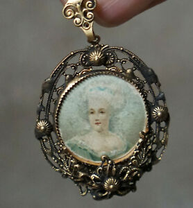 Antique Filigree Victorian Edwardian Untested Metal Cameo Mourning Photo Pendant
