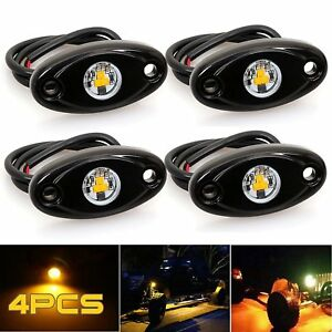 Led Rock Light Amber Jeep Off Road Truck Boat Underbody Glow Trail Rig Light 4pc