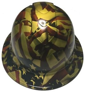 Hydro Dipped Custom Hard Hat Ridgeline Full Brim Metallic Gold American Flags