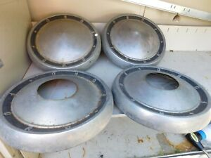 Vintage Ford Dog Dish Hubcaps Hub Caps Set Of 4