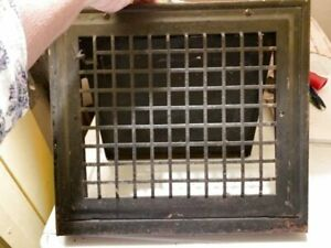 Vintage Victorian Cast Iron Wall Mounted Grille Grill Heat Grate Register W Louv