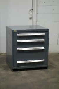 Used Stanley Vidmar 4 Drawer Cabinet 33 High Industrial Bench Storage 1834