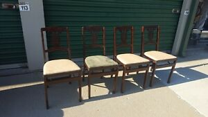 4 Vintage Antique Wood Event Stakmore Folding Chairs