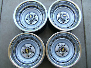 Chevy Gm Gmc Truck Suburban Blazer 15x8 5 Lug Rally Wheels Trim Set Of 4