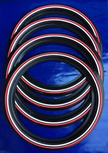 Oldtimer Usa 15 White Wall Double White Red Stripe 2 2 Set Tyre Insert Trim
