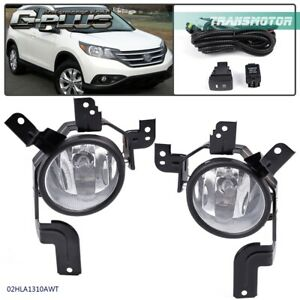 For 2007 2009 Honda Cr v Crv Clear Fog Lights Front Bumper Lamps W wiring switch