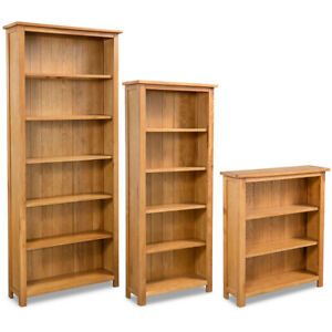 Vidaxl Solid Oak Wood 3 5 6 tier Book Shelves Cabinets Display Shelf