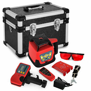 Rotary Rotating Red Laser Level Kit With Case 360 Self leveling 500m Range