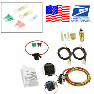 Dual Electric Engine Cooling Fan Harness Thermostat Relay 3 8 Npt Switch Kit Us