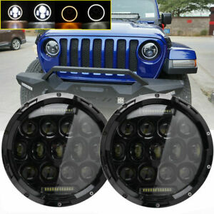 Pair 7 Round Led Headlights Halo Angle Eyes For 1997 2007 Jeep Wrangler Jk Tj