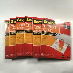 6 Pack Scotch Thermal Laminating Pouches 8 9 X 11 4 inches 5 Mil 25 pack